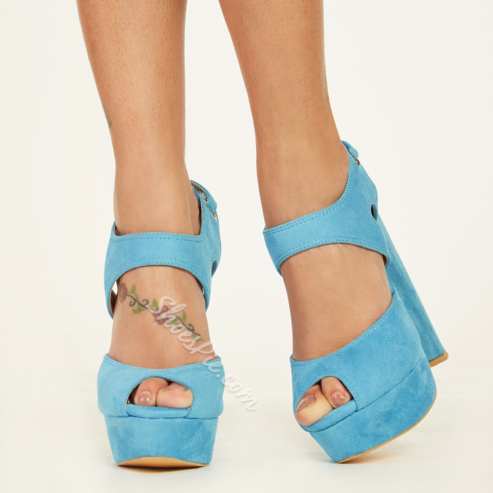 Shoespie Blue Platform Sandals