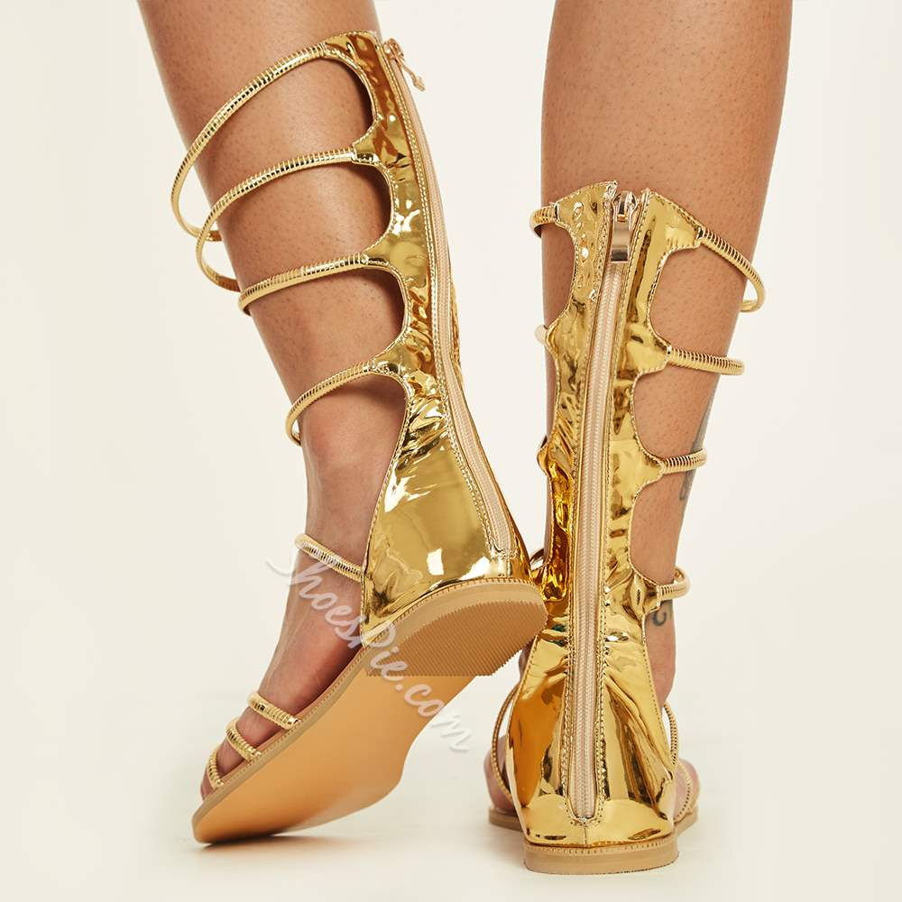 Shoespie Golden Strappy Wrap Up Gladiator Sandals