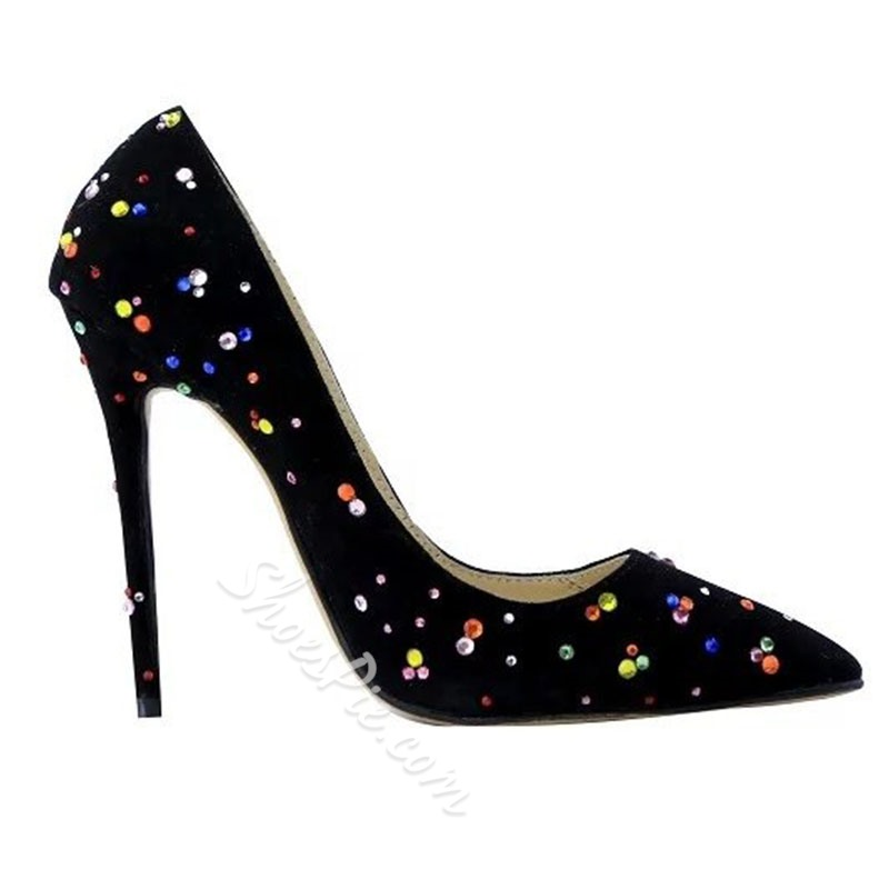 Shoespie Pointed-toe Shallow Multicolor Rhinestone Stiletto Heels