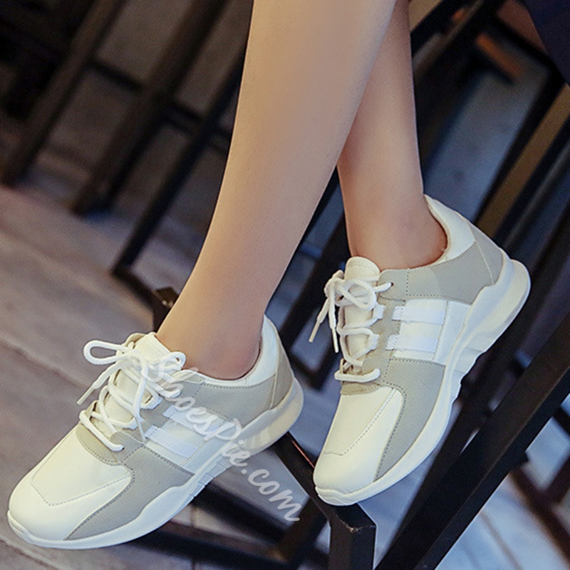 Shoespie Round Toe Contrast Color Fashion Sneakers