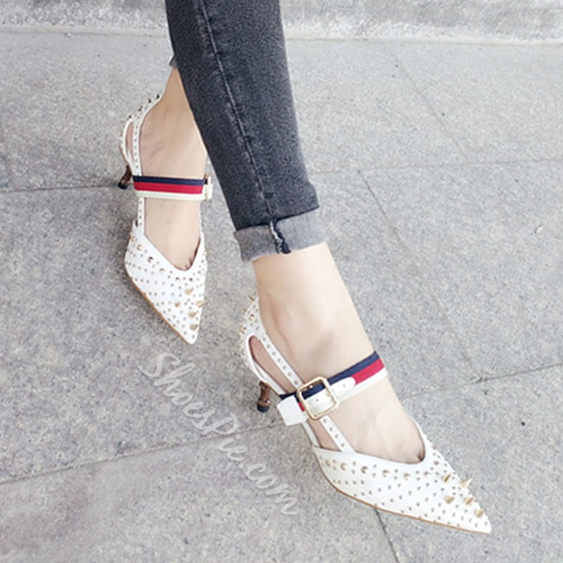 Shoespie Rivets Metallic Dressy Metal Buckles Low Heels