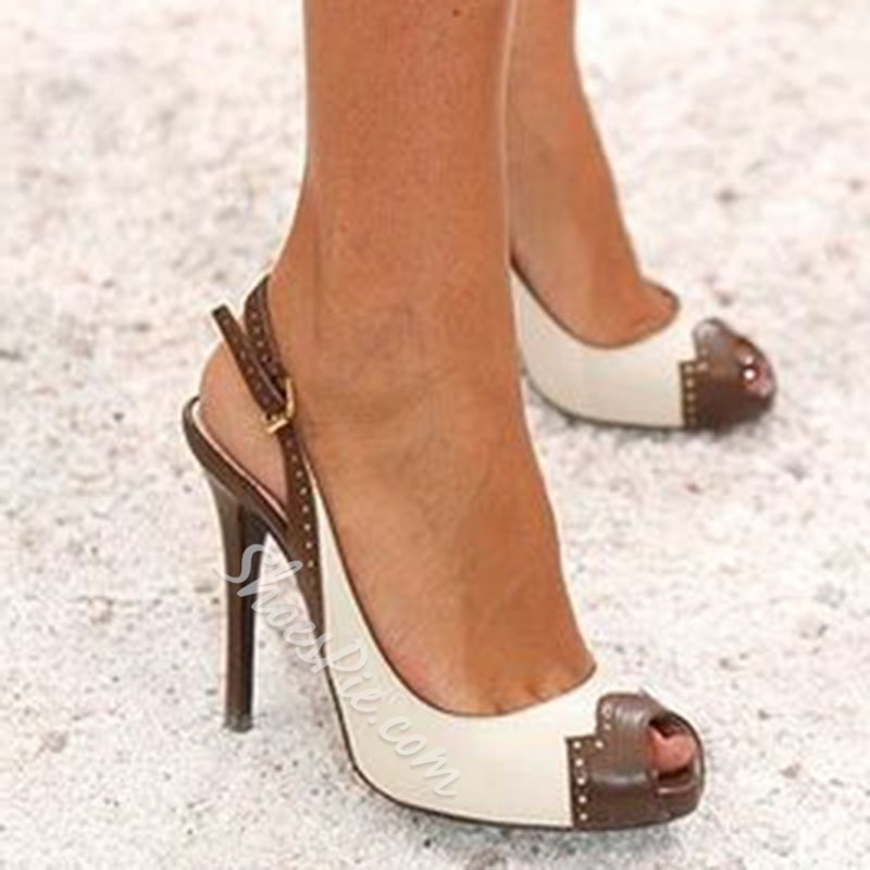 Shoespie Slingbacks Color Block Peep Toe Heel Sandals