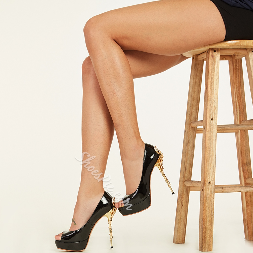 Shoespie Black Patent Leather Peep-toe Stiletto Heels