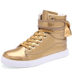 Shoespie Casual Lace-Up Sneaker Velcro High-Cut Upper Athletic Shoes