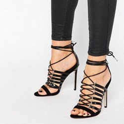 Shoespie Elastic Strappy Lace Up Sandals