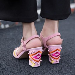 Shoespie Colorful Embroidery and Beading Block Heel Sandals