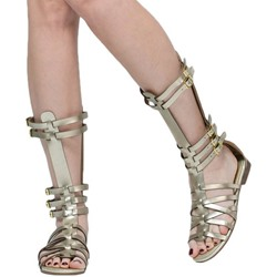 Shoespie High Shaft Heel Covering Flat Gladiator Sandals