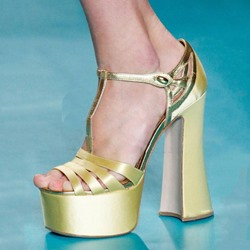 Shoespie Silky T Strap Platform Chunky Heel Sandals