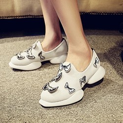 Shoespie Round Butterfly Net Cloth Sneaker