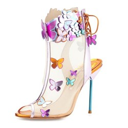 Shoespie Mesh Butterflies Applique Peep Toe Heel Sandals
