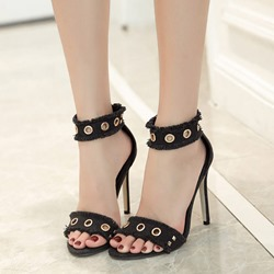 Shoespie Denim Metal Ring Hollow Ankle Strap Heel Sandals