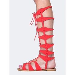 Shoespie Red Cutout Lace-Up Open Toe Flat Gladitor Sandals