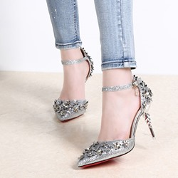 Shoespie Rhinestone Flowers Ankle Metal Buckles