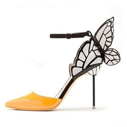 Shoespie Line-Style Buckle Butterfly Color Block Stiletto Heel