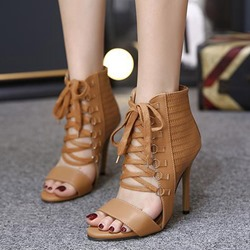 Shoespie Ankle Cover Front Lace Up Heel Sandals