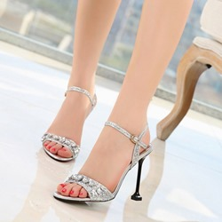 Shoespie Silver Sequin Rhinestone Heel Sandals