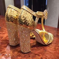 Shoespie Golden Glitter Chunky Heel Sandals