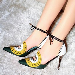 Shoespie Trendy Eyes Ankle-Wrap Stiletto Heels