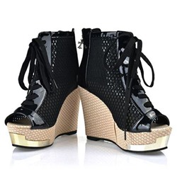 Shoespie Platform Cross Strap Wedge Sandals