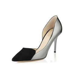 Shoespie Slip-On Pointed Toe Color Block Stiletto Heel