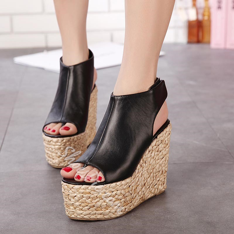 Shoespie Straw Outsole Platform Wedge Sandals