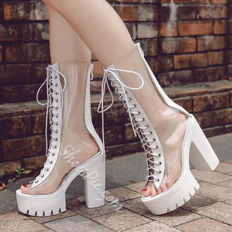 Shoespie Clear Open Toe Lace Up Booties
