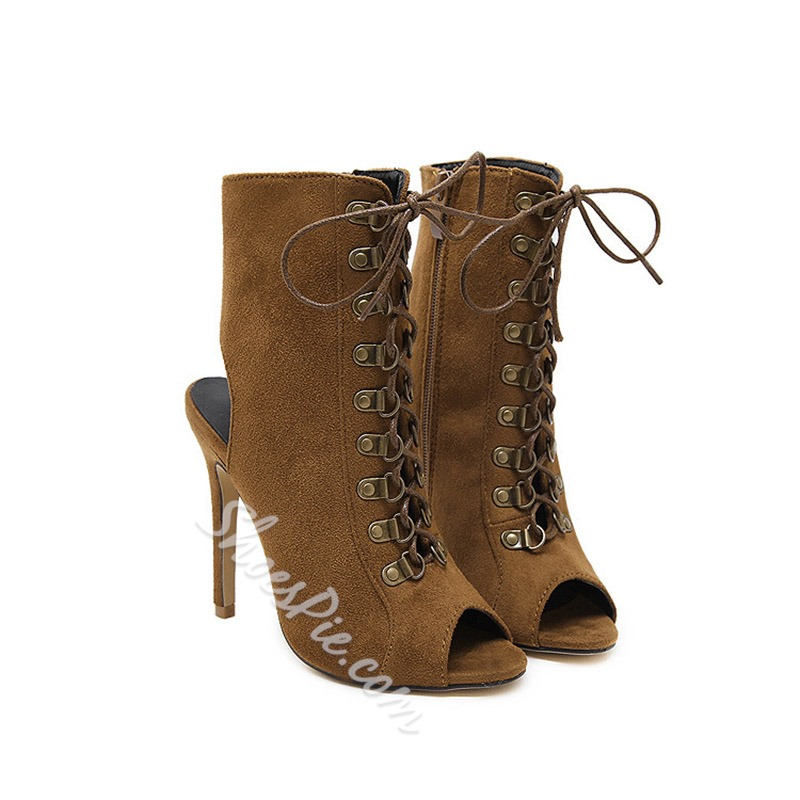 Shoespie Luxurious Brown Peep-toe Lace-up Ankle Boots