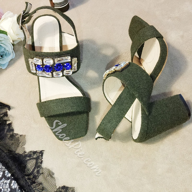 Shoespie Green Acrylic Rhinestone Block Heel Sandals
