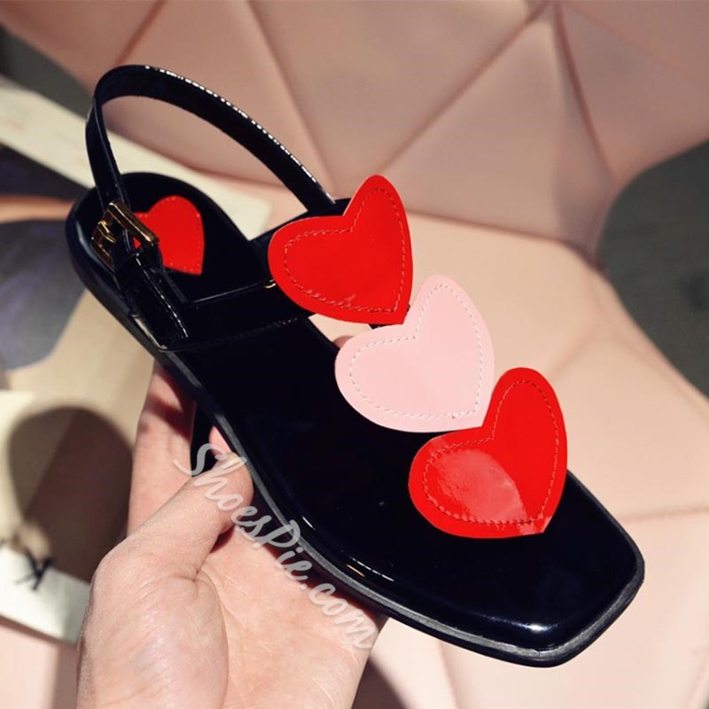 Shoespie Hearts Square Toe Flat Sandals