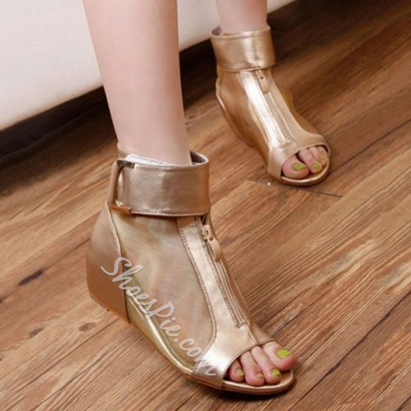Shoespie Velcro Heel Covering Wedge Sandals