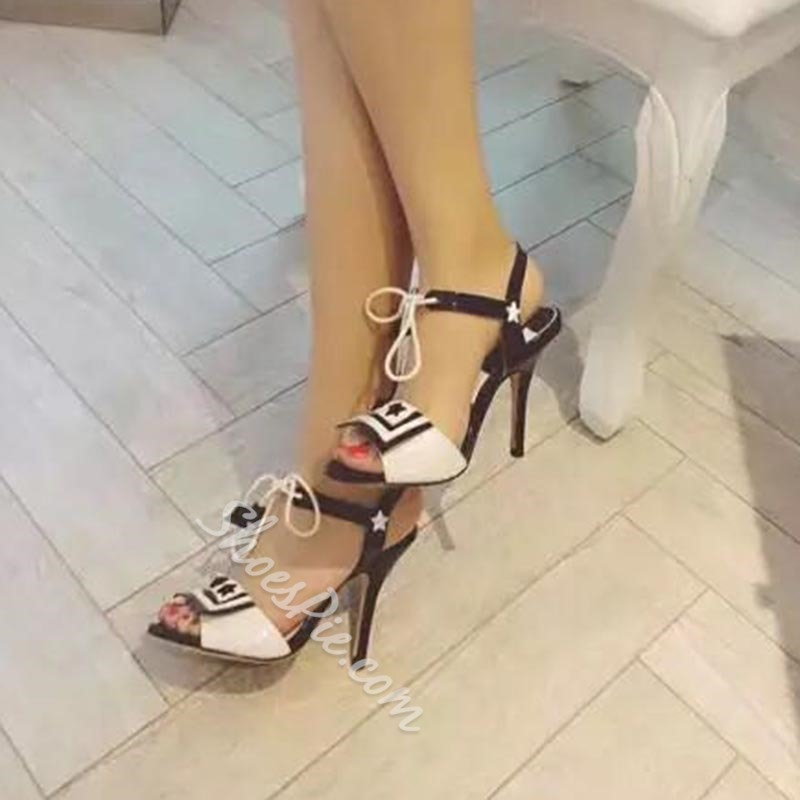 Shoespie Black and White Sandals