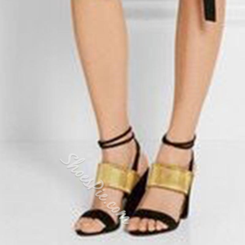 Shoespie Black and Golden Strappy Chunky Heel Sandals
