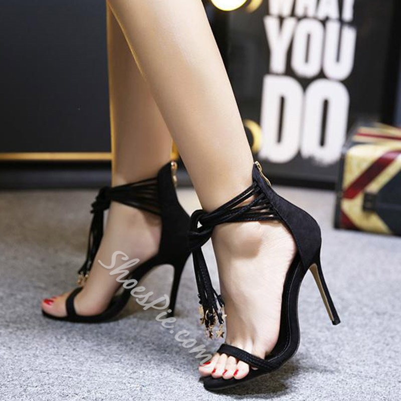 Shoespie Ankle Wrap Knot Tassel Charms Heel Sandals