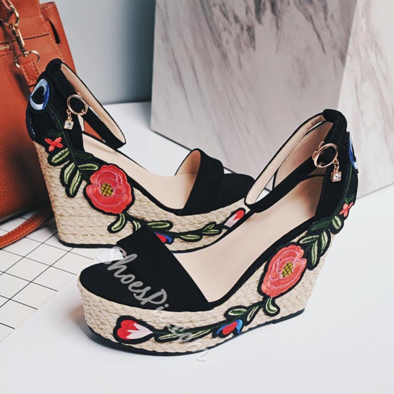 Shoespie Embroidery Straw Platform Wedge Sandals