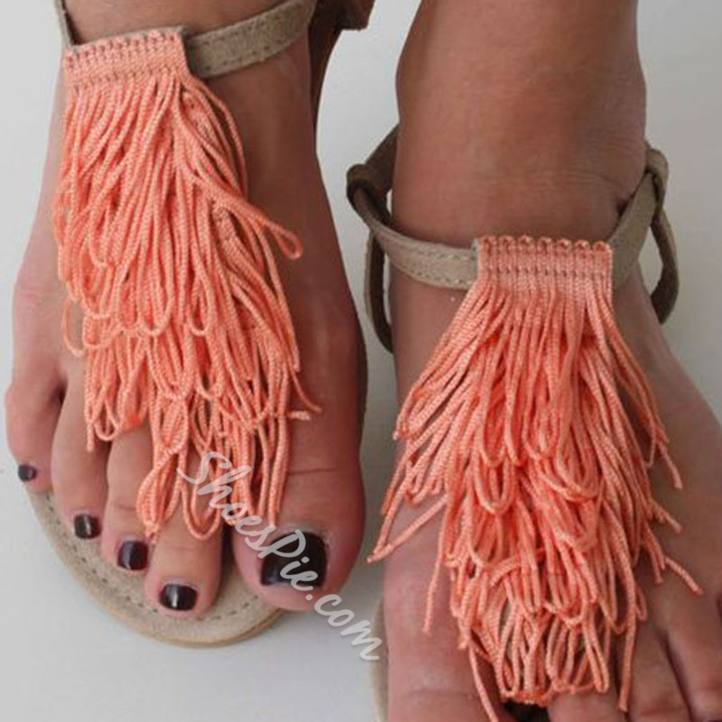 Shoespie Tassel Thong Slip-On Flat Sandals