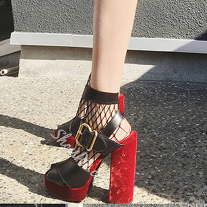 Shoespie Black and Red Buckle Chunky Heel Sandals
