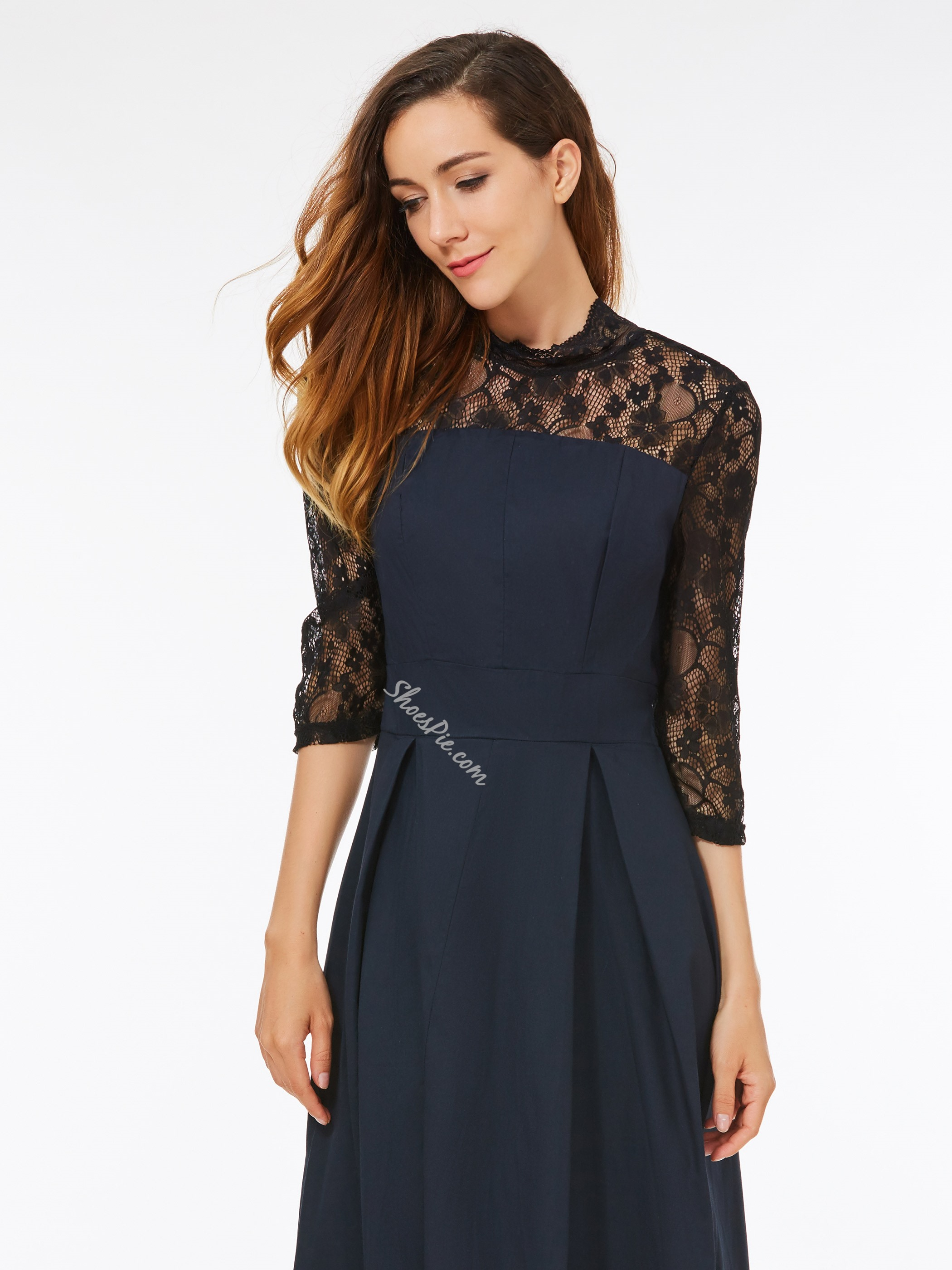 A-Line Stand Collar Lace Bodycon Dresses