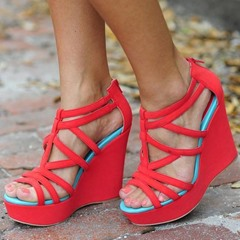 Shoespie Color Block Platform Wedge Sandals