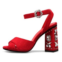 Shoespie Jeweled Block Heel Sandals