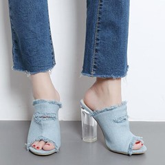 Shoespie Raw Edge Denim Clear Chunky Heel Sandals