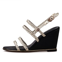 Shoespie Plait Strappy Wedge Sandals