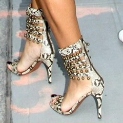 Shoespie Serpentine Bead Zipper Heel Sandals