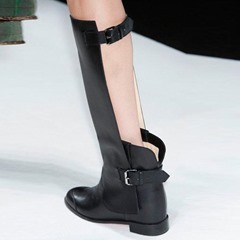 Shoespie Round Toe Buckle Knee High Boots