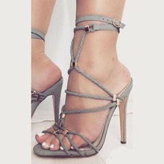 Shoespie Strappy Buckle Stiletto Heel Sandals