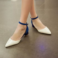 Shoespie Pointed-toe Shallow Metal Buckles Low Heels