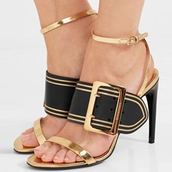 Shoespie Color Block Hasp Heel Sandals