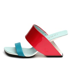 Shoespie Unique Color Block Hollow Heel Slippers