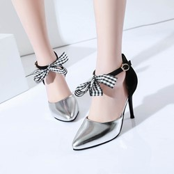 Shoespie Brisk Bowknot Ankle Metal Buckles Stiletto Heels