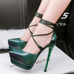 Shoespie Pointed Toe Banquet Lace-Up Platform Heel
