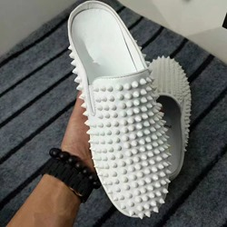 Shoespie White Rivets Backless Loafers
